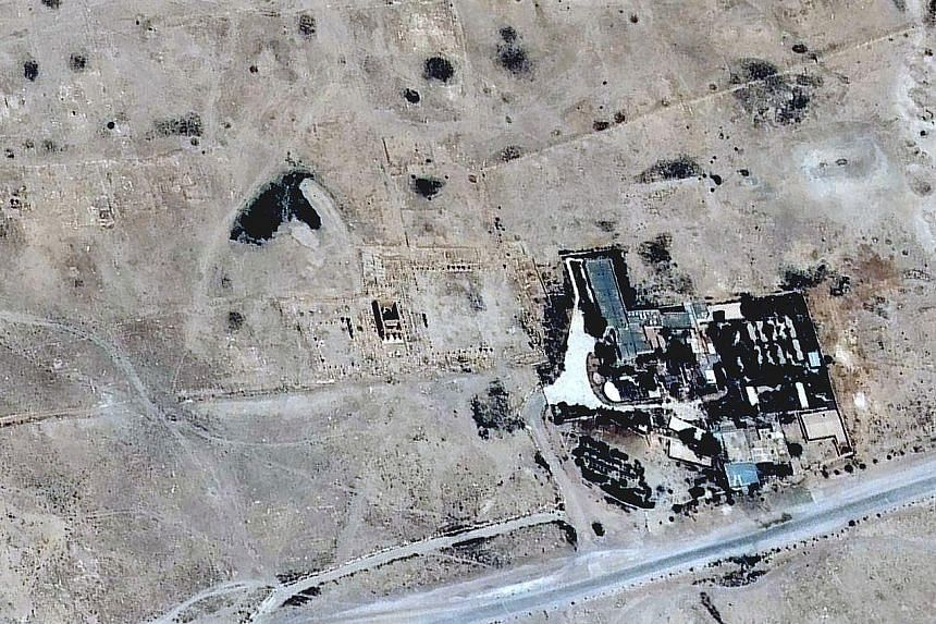 Satellite images showing the Baal Shamin temple in June (at top), and what is left in an image taken last week.