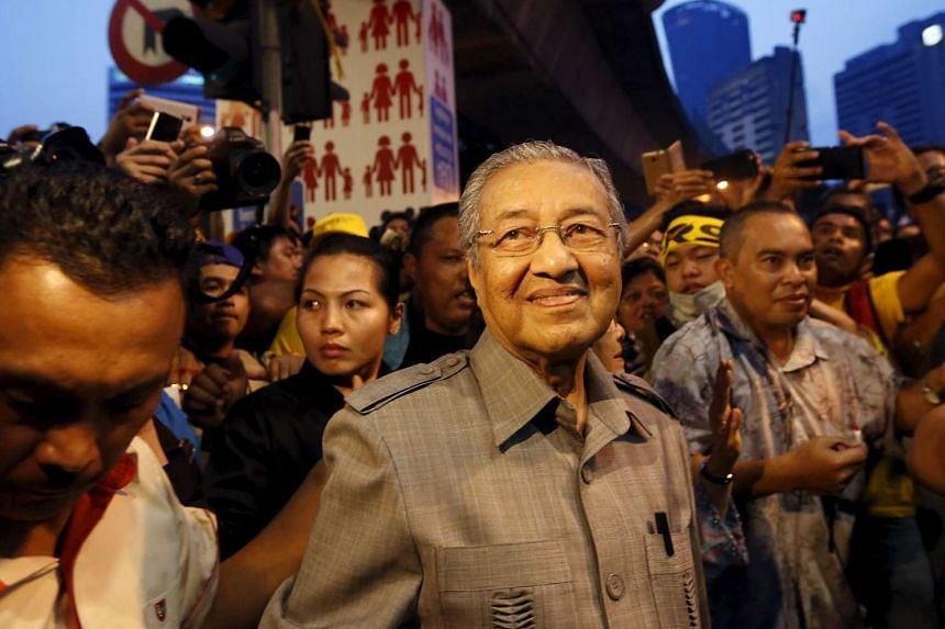 Former Malaysian prime minister Mahathir Mohamad attending a rally organised by pro-democracy group Bersih in Kuala Lumpur, on Aug 29, 2015.