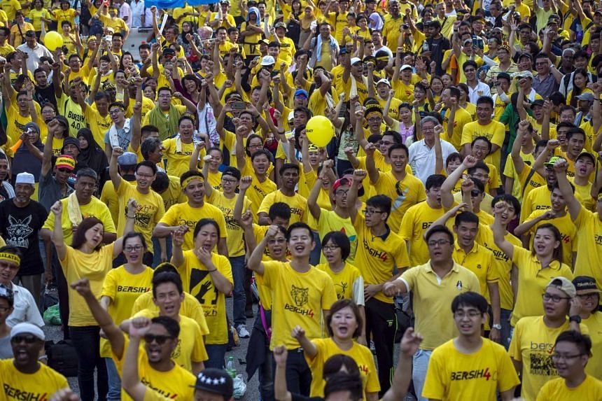 Protesters shout slogans during a rally organised by pro-democracy group Bersih (Clean) near Dataran Merdeka in Malaysia's capital city of Kuala Lumpur, on Aug 30, 2015.