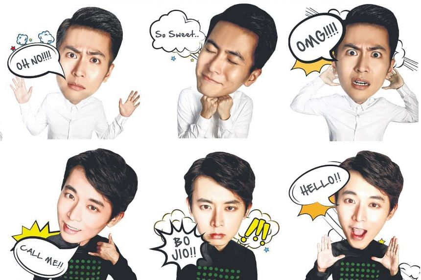 Local actors Xu Bin (top) and Aloysius Pang (above) got their own stickers, which can be downloaded from the Line sticker shop until Sept 17.