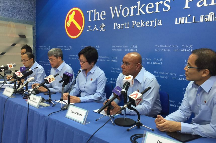 (From left) Mr Kenneth Foo, Mr Mohamed Fairoz Shariff, Hougang MP Png Eng Huat, Workers' Party chairman Sylvia Lim, Mr Gurmit Singh and Mr Dennis Tan.