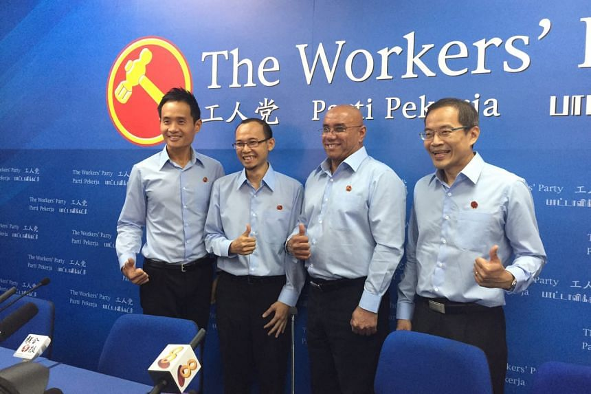The WP's fourth batch of potential candidates (from left) Mr Kenneth Foo, Mr Mohamed Fairoz Shariff, Mr Gurmit Singh and Mr Dennis Tan.