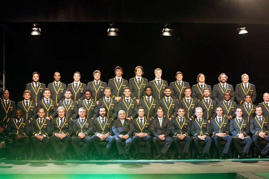 The South African Springboks pose for a team photo during the 2015 World Cup Squad announcement and press conference at the Beverly Hills Hotel, in Durban, on Aug 28,2015.