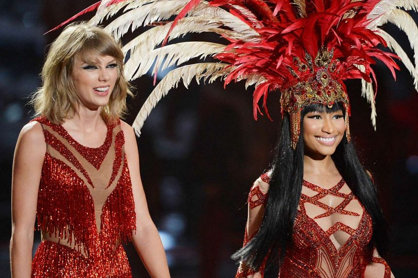 Taylor Swift (left) and Nicki Minaj performing onstage during the 2015 MTV Video Music Awards at the Microsoft Theatre on Aug 30, 2015 in Los Angeles, California.