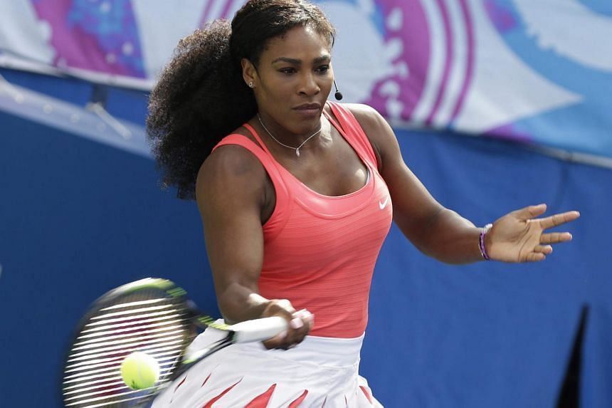 Serena Williams hits forehands for charity on Kids Day at the USTA Billie Jean King National Tennis Center in Flushing Meadows, in New York, USA on Aug 29, 2015.
