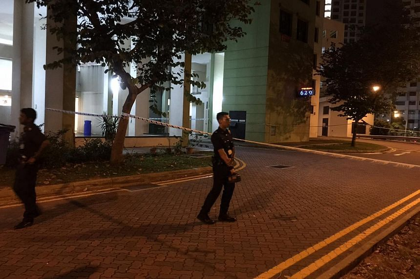 Police officers were also seen at Block 629, opposite Block 636B where the body was found.