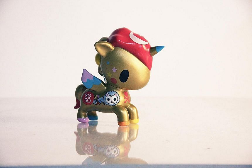 Italian artist Simone Legno designed the special SG50 edition of tokidoki's Unicorno line of toys (above).