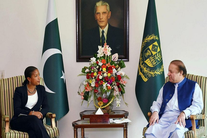 US National Security Adviser Susan Rice (left) met Pakistani Prime Minister Nawaz Sharif as part of an Asia tour that included an earlier stop in China.