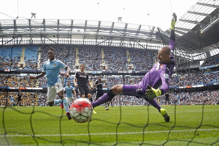 Raheem Sterling scoring the opener in Saturday's 2-0 home win over Watford. It was the former Liverpool winger's first competitive goal for Manchester City.