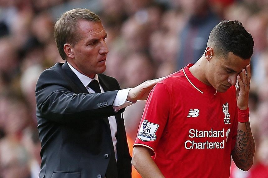 A dismal match for Liverpool manager Brendan Rodgers got worse after playmaker Philippe Coutinho was sent off in the second half of the Reds' 0-3 capitulation against West Ham at Anfield.
