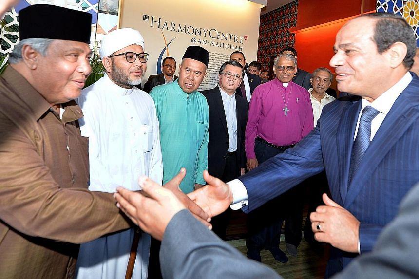 Egyptian President Abdel Fattah al-Sisi (right) meeting (from left) Ustaz Ali Mohamed, co-chairman of the Religious Rehabilitation Group (RRG); Ustaz Mohd Hasbi Hassan, co-chairman of the RRG; Ustaz Syed Ahmad Syed Mohamed, registrar at the Registry