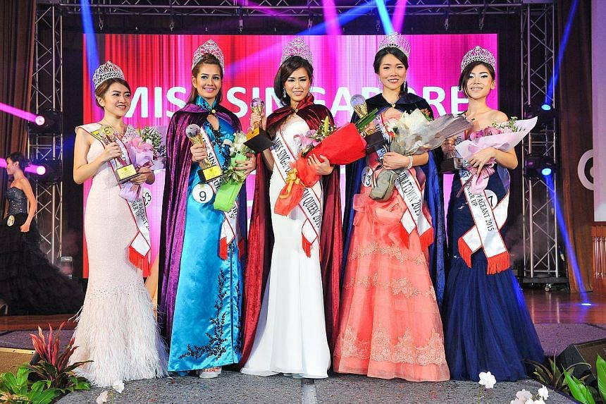 Three out of 23 finalists came up tops at the grand finals of the Miss Singapore Beauty Pageant 2015 at Orchid Country Club on Saturday. From left: Student Vanessa Tan, 20, was the 2nd runner-up. Freelance educator Hashiena Jan Ayub, 22, won the titl