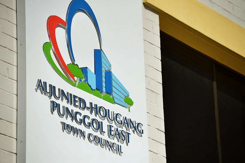 The signage of Aljunied-Hougang-Punggol East town council (AHPETC) at Block 810, Hougang Central.