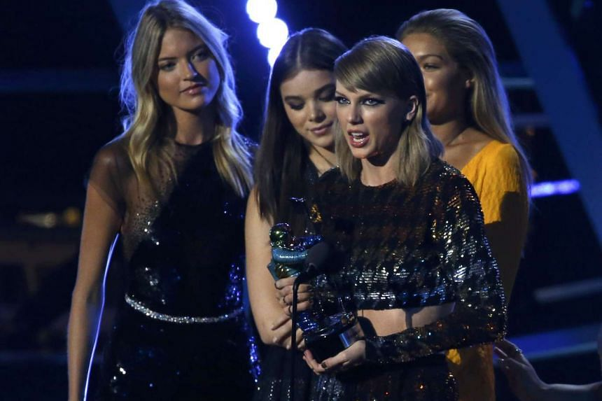 """Taylor Swift accepts the award for video of the year for """"Bad Blood"""" at the 2015 MTV Video Music Awards in Los Angeles, California, on Aug 30, 2015."""