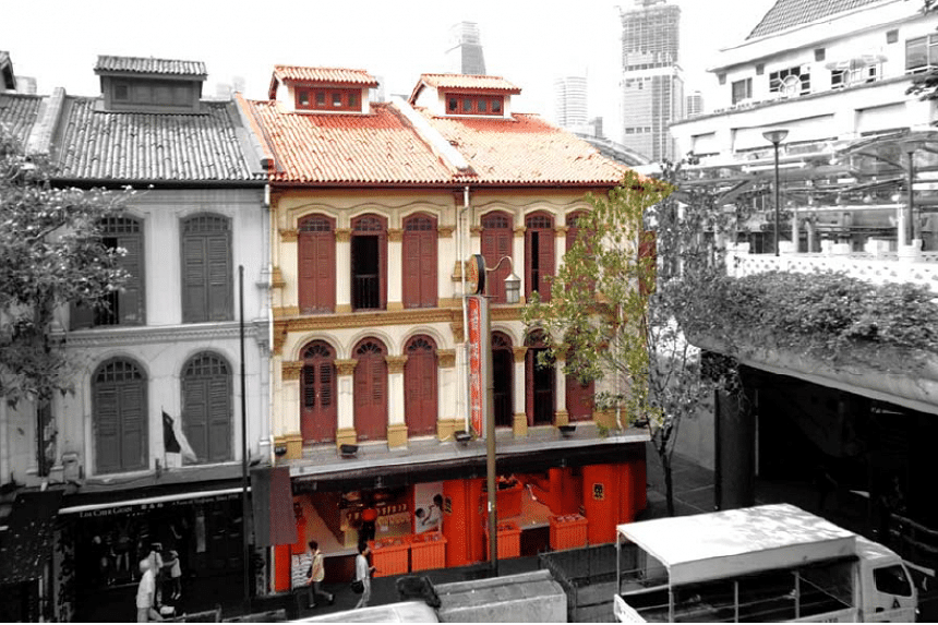 Adjoining shophouses at 205 and 207 New Bridge Road.
