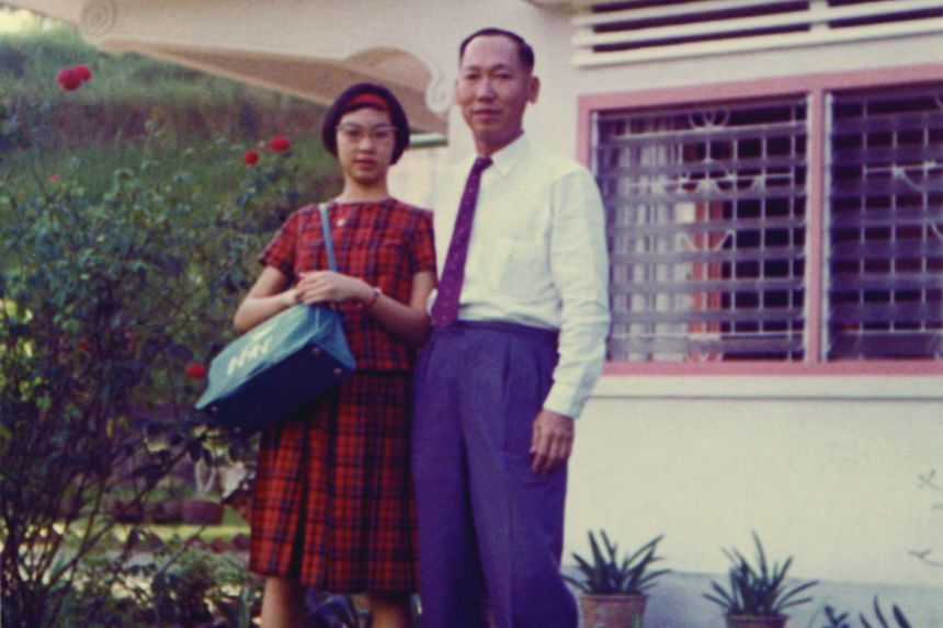 Margaret Leng Tan with her father, Mr C.C. Tan, in 1962 before he took her to the airport to fly to the Juilliard music school in New York.
