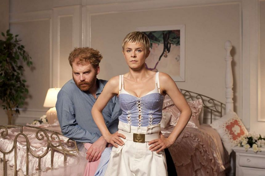 Swedish pop star Robyn, with music producer Markus Jagerstedt, on the set of her new music video in Los Angeles.