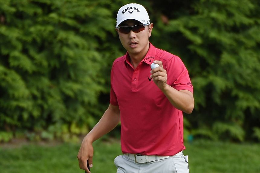 Bae Sang Moon shares the lead with PGA Championship winner Jason Day after three rounds of The Barclays.
