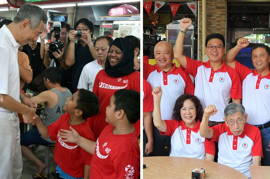 (Picture on the left) Prime Minister Lee Hsien Loong taking time to engage with Nur Irfan (left), six, and Norman Syaaqir, eight, with their mother, Madam Shaida Nurhana, 39, looking on at Cheng San Market in Ang Mo Kio yesterday. (Picture on the rig