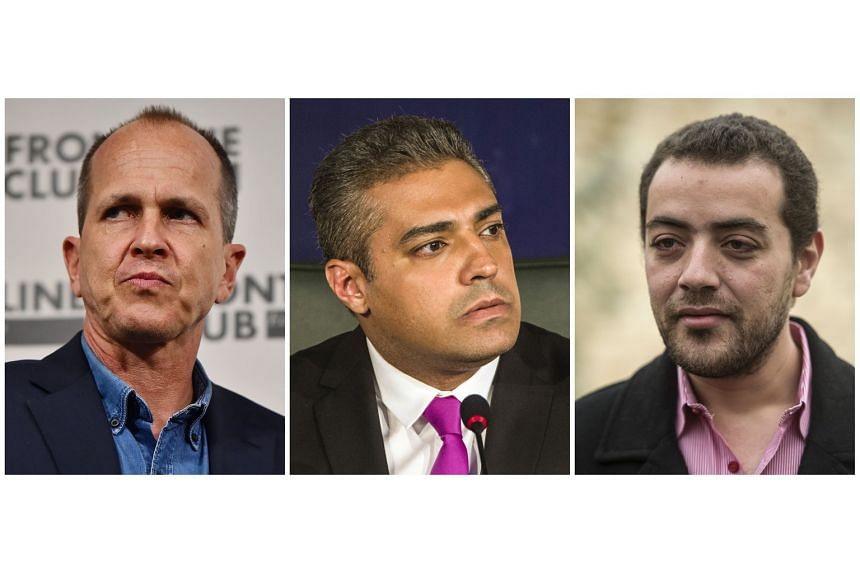 Journalists Peter Greste (from left), Mohamed Fahmy and Baher Mohamed were given three years in jail.