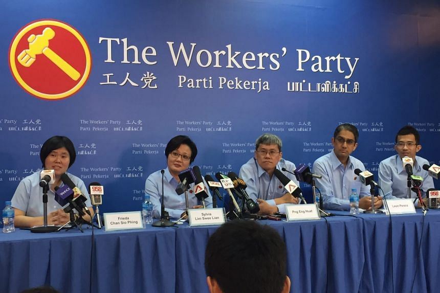 (From left) Ms Frieda Chan, Workers' Party chairman Sylvia Lim, Hougang MP Png Eng Huat, Mr Leon Perera and Mr Bernard Chen.