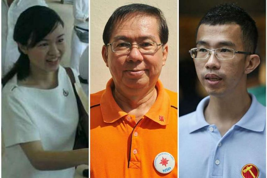 People's Action Party's Tin Pei Ling, National Solidarity Party's Cheo Chai Chen and Workers' Party's Bernard Chen.