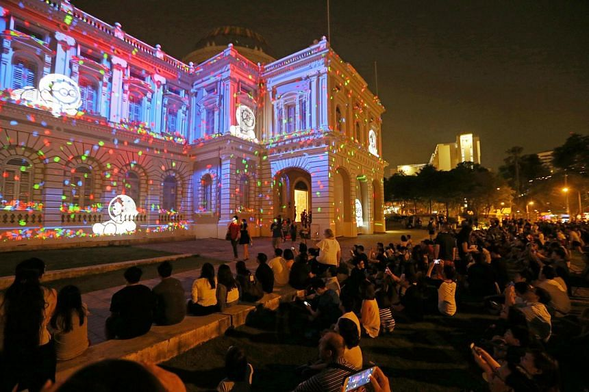 The Anooki Celebrate Singapore light show at the National Museum as part of the Singapore Night Festival on Aug 21, 2015.