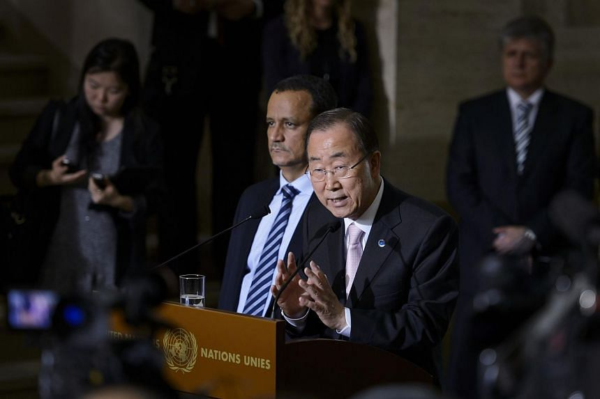UN General Secretary Ban Ki-moon  (centre) flanked by the UN Special Envoy for Yemen Ismail Ould Cheikh Ahmed (centre left) during a press conference at the UN offices in Geneva at the opening of Yemen peace talks.