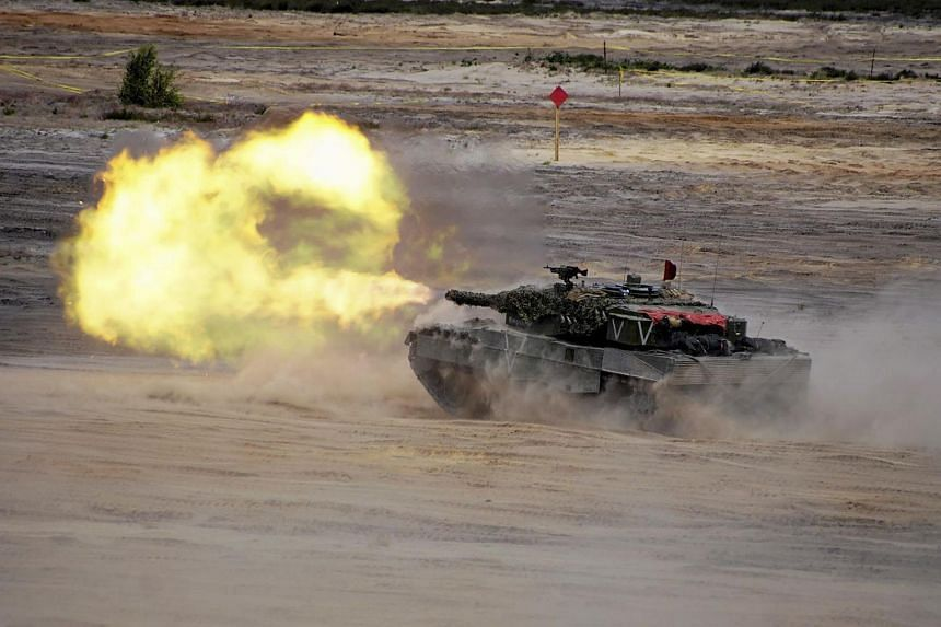 Units from NATO allied countries take part in the NATO Noble Jump 2015 exercises, part of testing and refinement of the Very High Readiness Joint Task Force (VJTF) in Swietoszow, Poland on June 18, 2015.