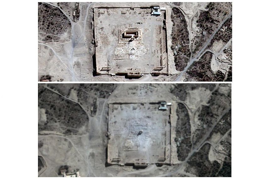 Combination picture shows the site of the Temple of Bel before (top) and after its apparent destruction in Palmyra, Syria, in this Aug 27, 2015 and Aug 31, 2015 handout satellite images provided by UrtheCast, Airbus DS, UNITAR-UNOSAT.