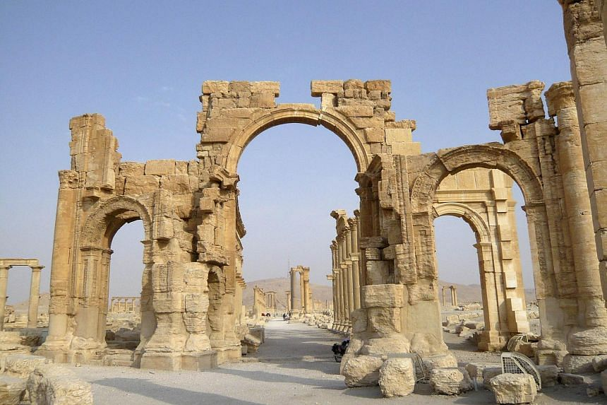 A view shows the Monumental Arch in the historical city of Palmyra, Syria, on Aug 5, 2010.