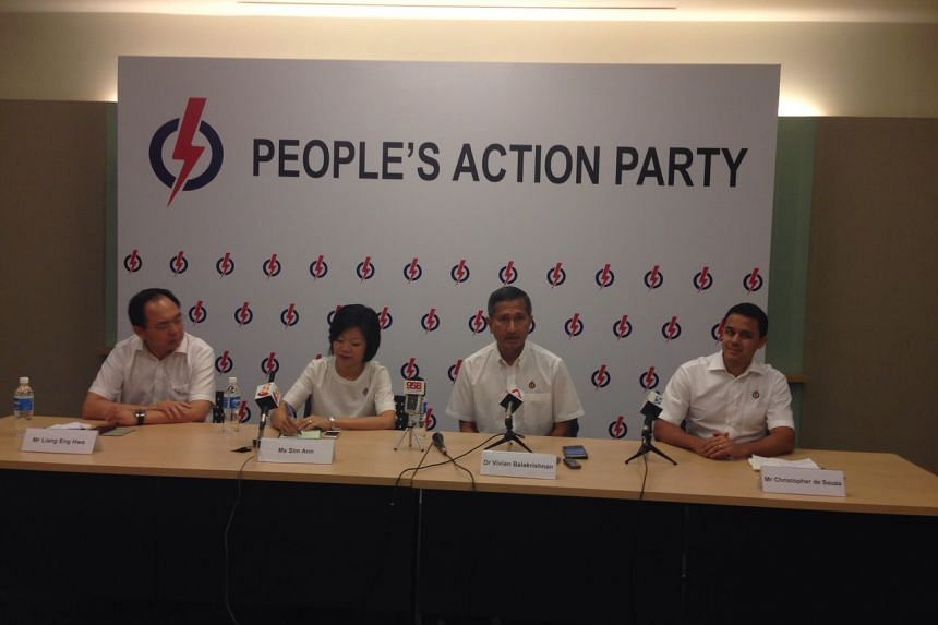 The PAP's Holland-Bukit Timah team at a press conference on Sept 1, 2015.