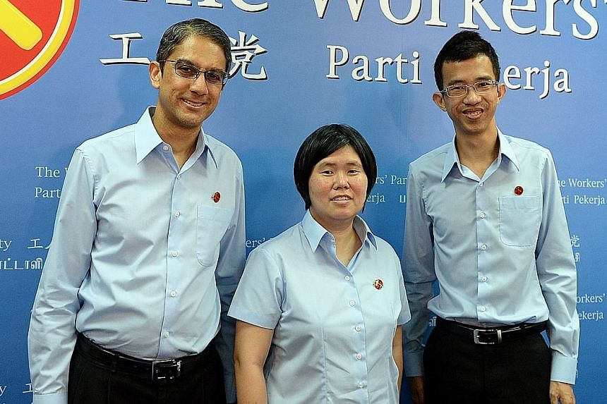 The three new Workers' Party candidates unveiled yesterday were (from left) consultancy firm chief executive Leon Perera, social worker Frieda Chan Sio Phing and charity project executive Bernard Chen.