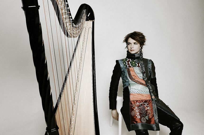Known as Queen of Harps, Catrin Finch (left) will play a solo recital in Singapore on Sunday.