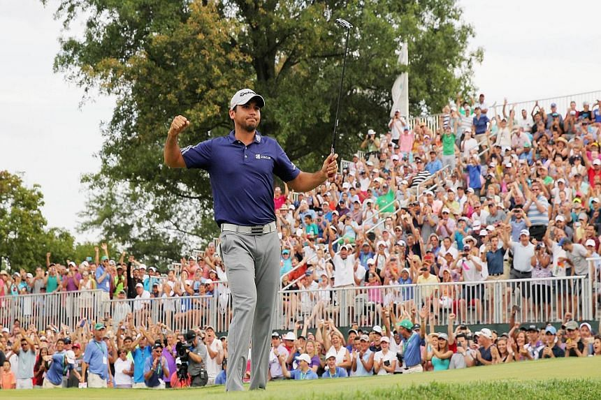 Jason Day of Australia celebrating after his Barclays victory at Plainfield Country Club in Edison, New Jersey, on Sunday.