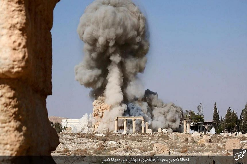 On Aug 23, ISIS blew up the Baal Shamin temple (above) in Syria's ancient city of Palmyra and, in February, the militants destroyed statues and other artefacts in the Mosul Museum.