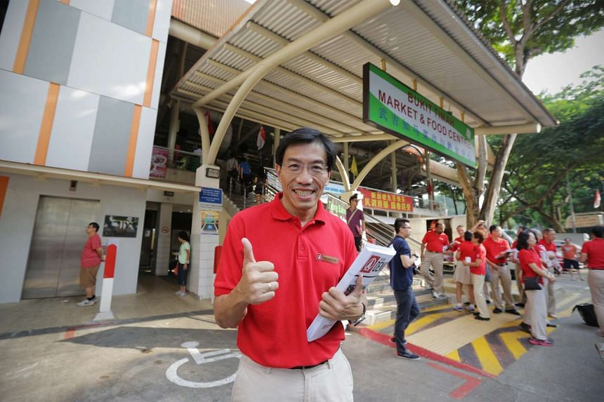 Singapore Democratic Party chief Chee Soon Juan at a walkabout in Bukit Timah on Aug 30.