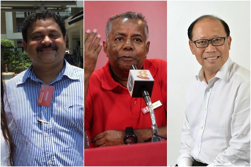 (From left) Another independent, businessman Samir Salim Neji, 45, is contesting Bukit Batok against the Singapore Democratic Party's Sadasivam Veriyah and the PAP's David Ong.