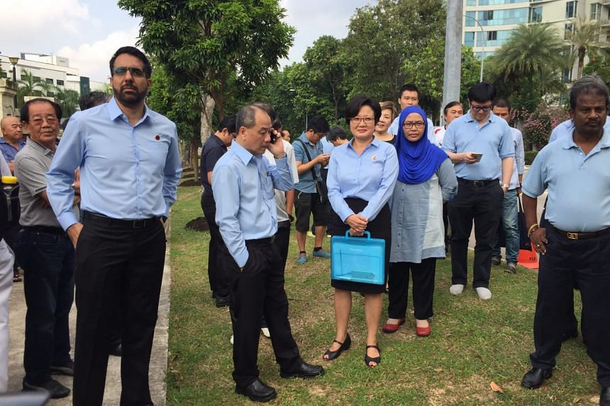 WP's Low Thia Khiang, Sylvia Lim and Pritam Singh heading to the nomination centre.