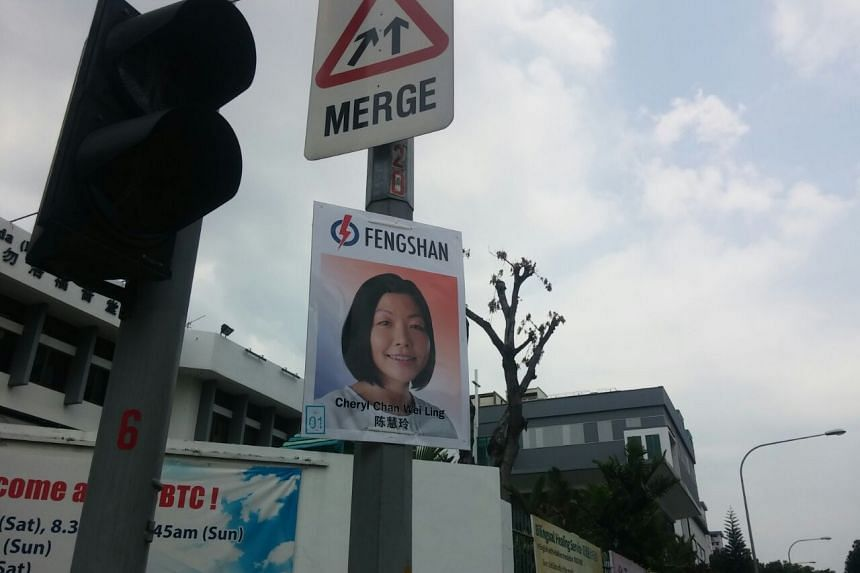 An election poster of Ms Cheryl Chan, PAP's candidate for Fengshan SMC.