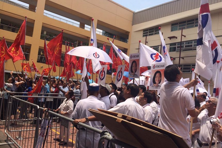 Workers' Party and People's Action Party at Fengshan Primary School, one of nine nomination centres.