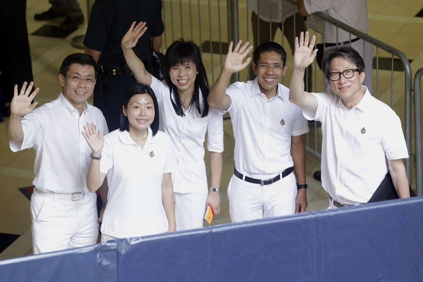 The PAP's candidates for East Coast GRC and Fengshan SMC (from left) Mr Lee Yi Shyan, Ms Cheryl Chan, Ms Jessica Tan, Mr Mohamad Maliki Osman and Mr Lim Swee Say.