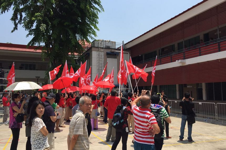 SDP supporters at Assumption Pathway School nomination centre.