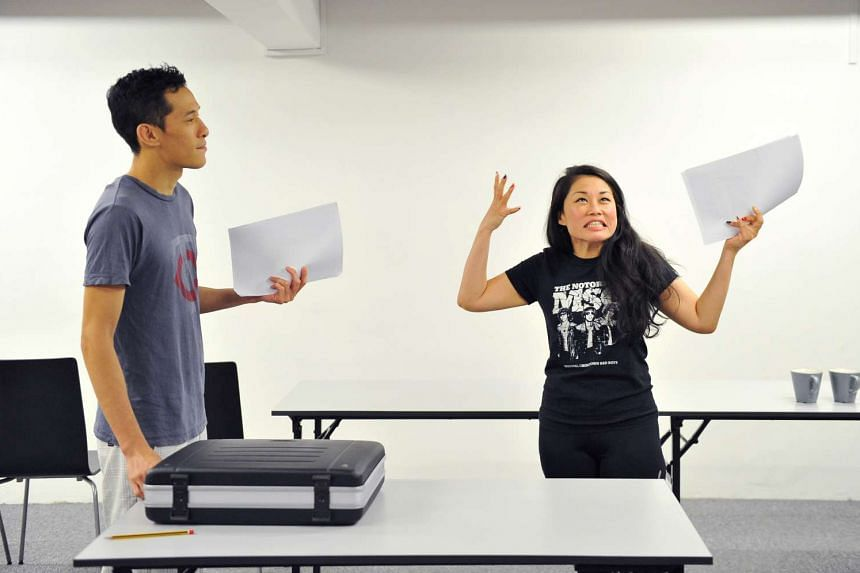 Shane Mardjuki and Denise Tan (both above) during a rehearsal of Hello Goodbye.