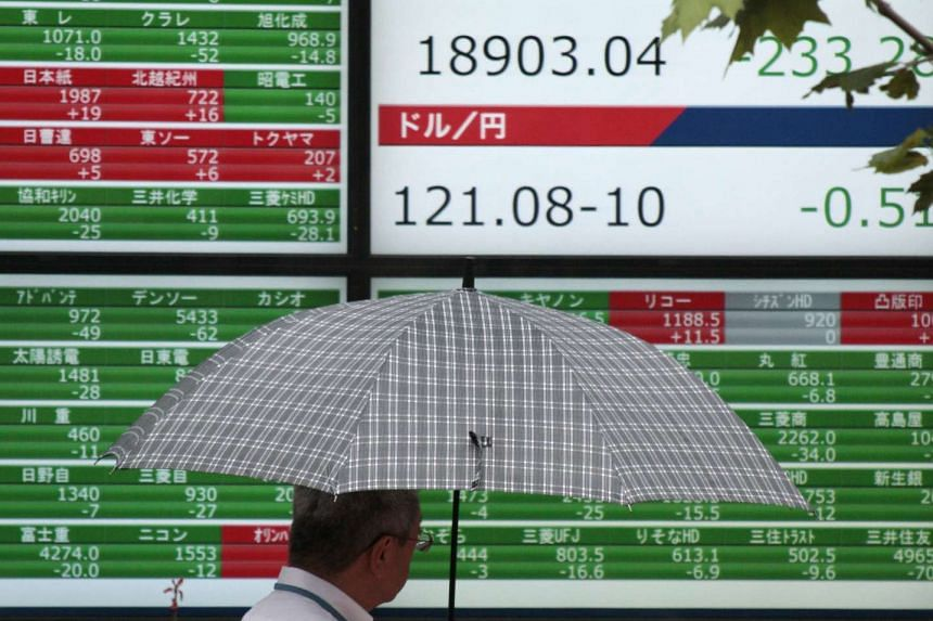 A display showing the Nikkei Stock Average in Tokyo yesterday. The MSCI Asia ex-Japan index, which tracks stocks across the region except Tokyo, fell 0.4 per cent yesterday. Tokyo slid 1.3 per cent.