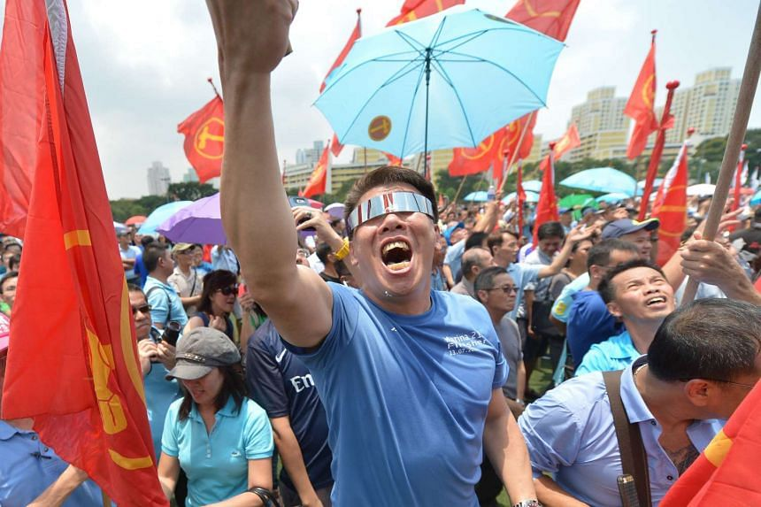 Workers' Party supporters at Raffles Institution on Sept 1, 2015.