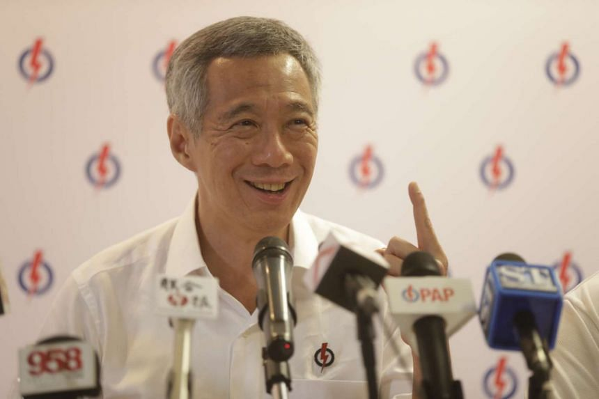 Prime Minister Lee Hsien Loong speaking during a PAP press conference at PAP HQ on Sept 1, 2015.