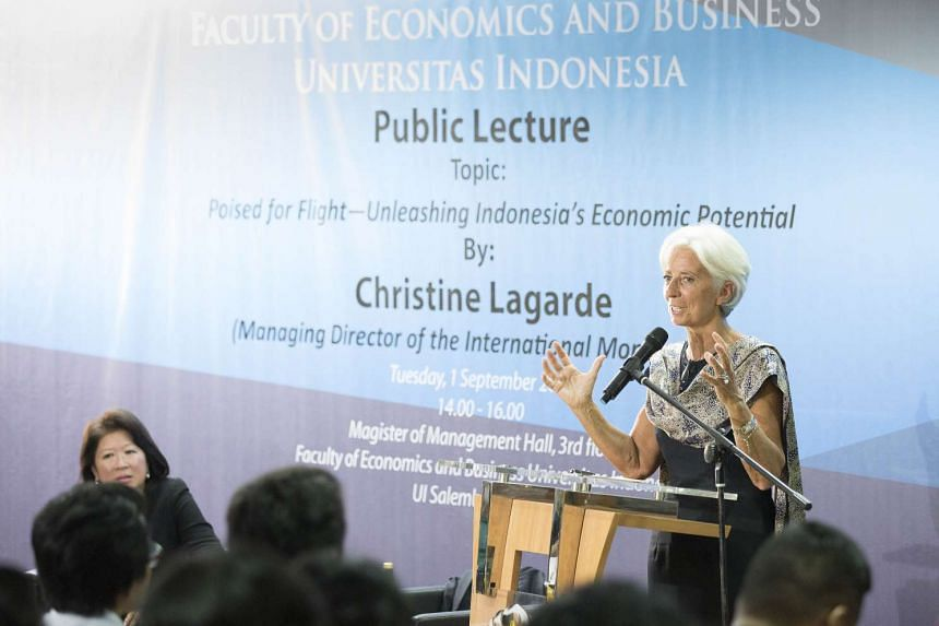 IMF managing director Christine Lagarde speaking to students at the University of Indonesia in Jakarta.