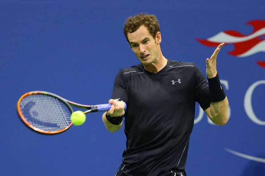 Andy Murray of Great Britain returning a shot to Nick Kyrgios of Australia on day two of the 2015 US Open tennis tournament at USTA Billie Jean King National Tennis Center.