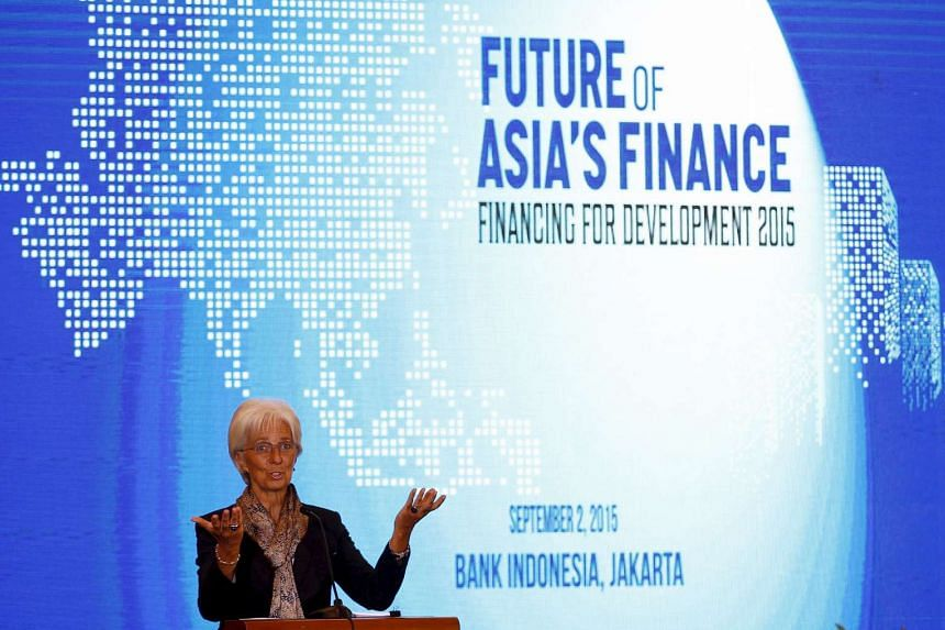 IMF managing director Christine Lagarde speaking at the start of a finance conference in Jakarta, on Sept 2, 2015.